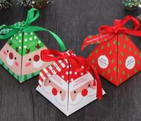 Feliz Navidad Caja de almacenamiento de regalo con dulces Bolsa con etiqueta Árbol de Navidad Caja de regalo Caja de papel con forma de pirámide Bolsa de regalo Contenedor Fiesta Suministros de boda