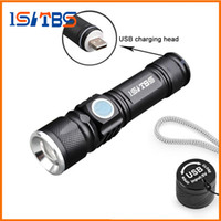 USB Handy LED Torch usb Flash Light Pocket LED Rechargeable Flashlight Zoomable Lamp Build-in 16340 Battery For Hunting Camping