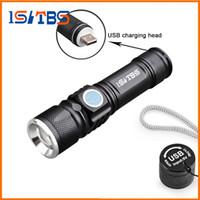 USB Handy LED Antorche USB Flash Light Pocket LED Linterna recargable Lámpara de zoom Lámpara de zoom-in 16340 Batería para Caza Camping