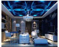 Personalizado Grande Teto Mural Papel De Parede 3D Sonho Estéreo Mágico Fotossensível Círculo Moda KTV Photo Ceiling Wallpapers decoração de Casa
