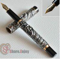 نافورة القلم متوسط المنقار jinhao القديم رمادي اثنين التنين اللعب لؤلؤة كريستال شحن مجاني الذهبي النحاس النحاس والفضة اختيار 5 ألوان
