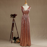 Under90 Cheap Rose Gold Sequined Long Bridesmaid Dresses Sex...