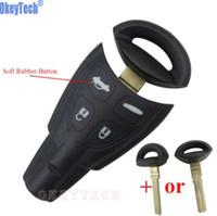 OkeyTech 원격 자동차 키 케이스 쉘 사브 9-3 93 2003-2007 4 단추 Uncut Blade 스마트 카드 빈 교체 열쇠가없는 포브 커버