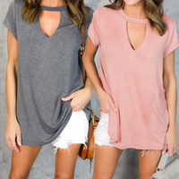2017 Womens T Shirt Summer Sexy Hollow Out Choker Neck Short Sleeve Casual Oversized Tee Loose Solid Tops T Shirt