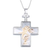 2018 Latest Ocean Fish Glass Cross Pendant Necklace Fashion Jewelry for Women Nickle Free Drop Shipping