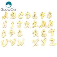 Altın Paslanmaz Çelik 26 Mektup Alfabe Kolye Bilezik Kolye Parçaları Süslemeleri kadın takı Parti Hediye Charms 22413