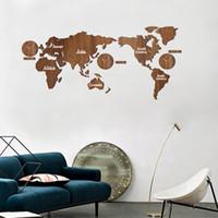 الإبداعية خريطة العالم ساعة الحائط 3d خريطة خشبية تصميم ديكور المنزل غرفة المعيشة الحديثة الطراز الأوروبي جولة كتم relogio دي parede
