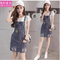 Neue koreanische Mode Frauen lose Taschen Patchwork Riss Denim Jeans Hosenträger Shorts Overall plus Größe XSSMLXLXXL Strampler