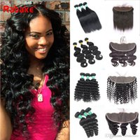 9A Grade Peruvian Human Hair Bundles with Frontal Rabake Bod...