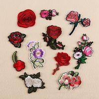 Diy patch Plum Rose per Abbigliamento ricamato di Applique della zona su Patch Accessori per cucire Badge Adesivi per sacchetto di vestiti 10pcs