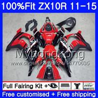 Инъекционная фабрика красный для Kawasaki Black ZX 10 R ZX10R 11 12 13 14 15 218HM.14 ZX 10R 1000 CC ZX-10R 2011 2012 2013 2013 2014 2015