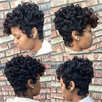 Synthetic Short Ombre Brown Black Curly Hair Wigs For Black ...