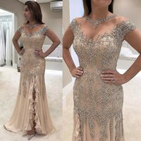 Шампанское Mermaid Lace Mother of the Bride Dresses Sheer Beaded Neck Capped Sleeve Evening Gowns with Luxury Crystals Front Split Prom Dress