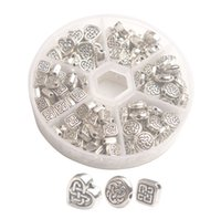 One Box of 180PCS Antiqued Silver Metal Celtic Knot Spacer Beads for Jewelry Making