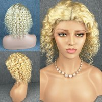 8A Grade 613 Blonde Lace Front Human Hair Wigs Deep Wave Glu...