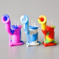 Heiße verkaufende Silikon-Wasser-Rohr-Bong-unzerbrechliche Silikon-Klecks-Ölplattform mit dem 5ml Wachs-Behälter und Quarz-Knall geben Verschiffen frei