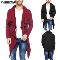 INCERUN 2018 Men Trench Coat Hooded Long Sleeve Solid Loose ...