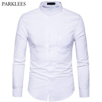 Men' s Oxford Dress Shirt Slim Fit Long Sleeve Mandarin ...
