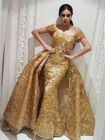 Золотые аппликации Кружевная верхняя юбка Вечерние платья с короткими рукавами и бисером Блестки Арабские вечерние платья Вечерние платья с длинными рукавами