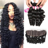 Loose Wave Human Hair 4 Bundles With Lace Frontal Closure 8A...