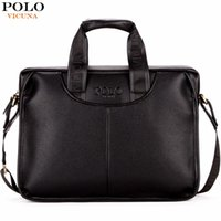 VICUNA POLO Classic Design Large Size Leather Briefcases Men...