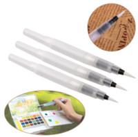 مل 3pcs / مجموعة عبوة قابلة للتعبئة المياه لون القلم الطلاء فرشاة تعيين حبر القلم للدهانات الخط المائية