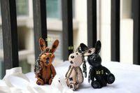 Conejo león cachorros llavero diseñador de moda bolso hombro cadena colgante creativo animal perro mochila llavero