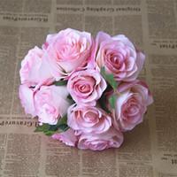 Ucuz Birçok renk çiçekler Mix ile Yüksek Seviye Ülke Düğün Gelin Buketi Yapay gül Çiçek Düğün Için Ücretsiz shiping Stil