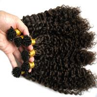 Menschliches Haar Keratin Erweiterungen Kinky Curly 300g / Strähnen Menschenhaarverlängerung Ich Tipp pre-bond Fusion Hair Extensions # 2 Darkest Brown