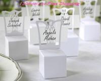 şeker kutuları ve düğün iyilik (120 adet / lot) Minyatür Sandalye Yeri Kart Sahibi ve (isim kartı ile) Box Favor iyi