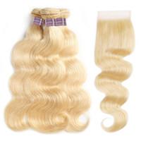 ishow 613 금발 머리 색깔의 머리카락 묶음 레이스 클로저 브라질 바디 웨이브 버진 헤어 확장 Weft Weave 3pcs 여성 모두 10-30inch