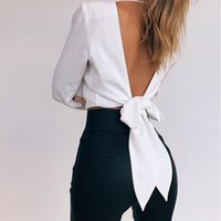 Summer Puff Sleeve White Blouse With Belt Women Sexy V Neck ...