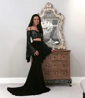 Élégant deux pièces Noir Robes de bal Noire Poète Manches longues Top dentelle avec robes de satin satin perlée