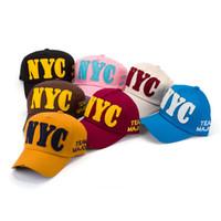 2018 새로운 여성 NYC 야구 스냅 백 모자 모자 힙합 모자 코튼 가변 브랜드 모자 여름 일 그늘 모자