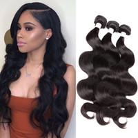 Bella Hair® 9a 10 ~ 24in البرازيلي العذراء شعر الإنسان لحمة ملحقات الجسم موجة متموجة اللون الأسود الطبيعي 3 قطعة / الوحدة ulienchina
