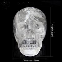 Crâne de cristal transparent naturel sculpté à la main, tête extraterrestre humaine de cristal de pierres précieuses pour la guérison des cadeaux de Reiki Halloween