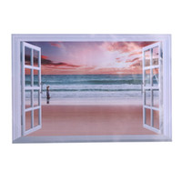 black and white 3D Palm Beach landscape Window Stickers View...