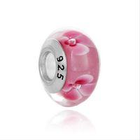 Pink Flower Murano lampwork vetro perline 925 argento argento grande foro allentato perline misura forma europea Pandora charms braccialetto collana gioielli fai da te gioielli fai da te