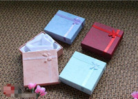 Schmuck Armband Boxen Hartpappe Halskette Box Papier-Kasten-Anhänger Verpackung Geschenk-Kasten Vier Farben 12pcs / Lot 9X9X2.8cm