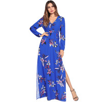 Women Long Dress Summer 2018 Long Sleeve Floral Print Boho S...