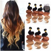 El cabello humano peruano de la onda del cuerpo Ombre teje con el cierre Tres tonos 1B / 33/27 Honey Blonde Ombre Hair Bundles con el encierro del cordón 4x4