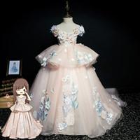 Gerçek Resim Kızlar Pageant Elbiseler Cap Sleeve 3D Çiçek Korse Balo Toddler Çiçek Kız Elbise Çocuk Örgün Parti İlk Communion Elbise