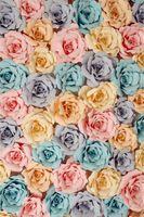 Papier-Blumen-Hintergrund des Digital-Druck-3D für Fotografie-blaue purpurrote gelbe rosa Rosen-Baby-Kinderkinderblumenfoto-Studio-Hintergründe