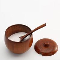 1 Unids / set Tarro de Especias de Madera Natural con Tapa Tazón de Azúcar de Sal Cuenco con Accesorios de Cocina de Cuchara Gratis