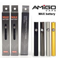 Оригинальный Amigo Max Vape Батарея Vape 510 Предварительно нагрева 380mAh Регулируемое нижнее заряд напряжения для густых нефтяных картриджей.