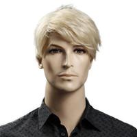 Blond Courts Homme synthétique Perruques 6 European American Inch droite hommes perruque avec Cap gratuit cheveux résistant à la chaleur