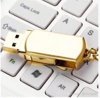 حلقة 64GB 128GB 256GB الذهب معدن الفضة مع مفتاح Swive USB ذاكرة فلاش محرك 2.0 لالروبوت ISO الهواتف الذكية أقراص