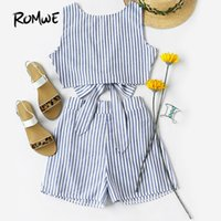 ROMWE Womens Two Piece Sets 2018 Summer Ladies Two Way Sleev...