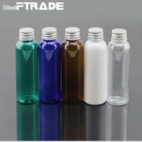 Bouteilles en plastique vides de 60ml, bouteille d'ANIMAL FAMILIER avec le couvercle argenté d'aluminium recouvert pour l'emballage cosmétique de crème de soin de peau d'emballage 50Pcs
