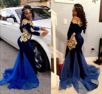 2K18 Nigerian maniche lunghe abiti da sera velluto a spalla velluto sirena Royal Blue velluto abiti da sera con applicazioni
